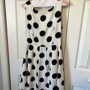 White w/black polka dots fit and flare dress